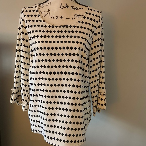 Brixon Ivy black and ivory 3/4 sleeve top size M